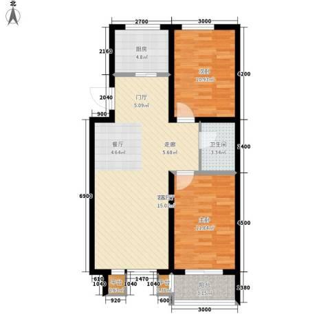 明日星城2室1厅1卫1厨94.00㎡户型图