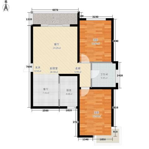 锦江I HOME2室0厅1卫1厨75.00㎡户型图