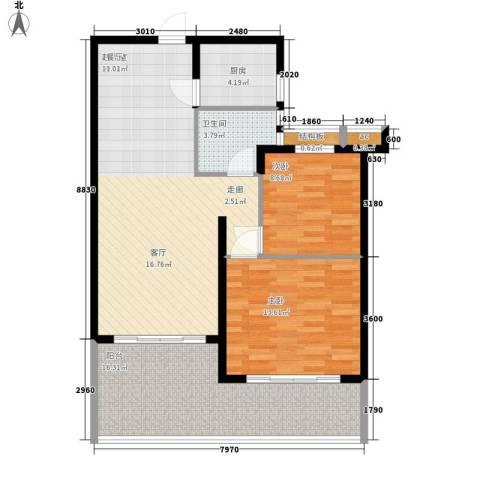 爱琴万泉水郡2室0厅1卫1厨91.00㎡户型图