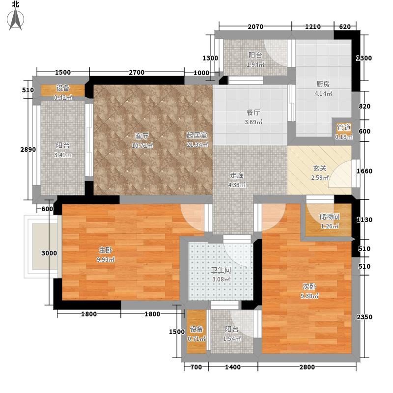 金茂珑悦62.32㎡一期2号楼标准层5号户型