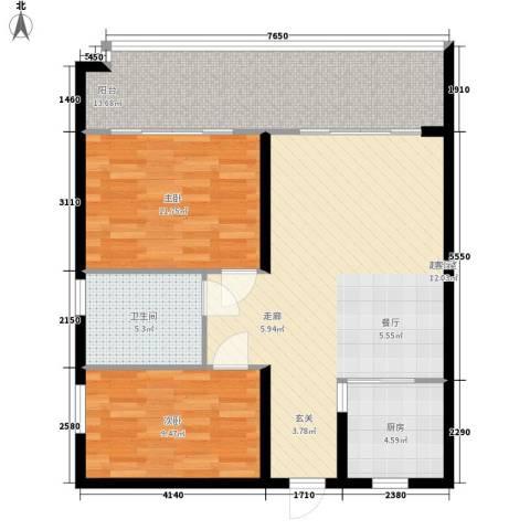 爱琴万泉水郡2室0厅1卫1厨83.00㎡户型图
