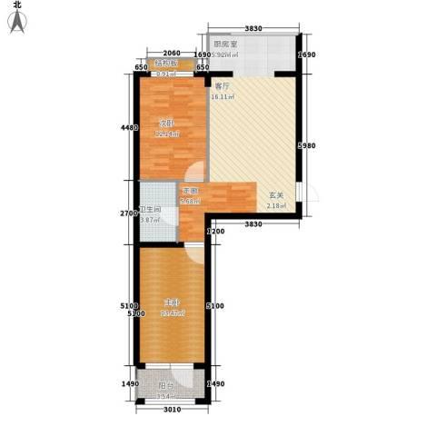 东湾假日2室0厅1卫0厨90.00㎡户型图