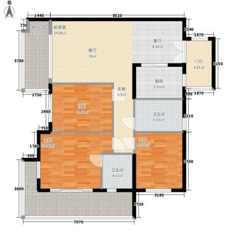 爱琴万泉水郡3室0厅2卫1厨124.00㎡户型图