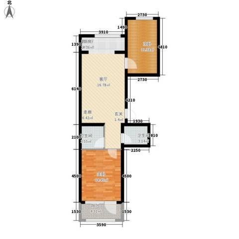 东湾假日2室1厅2卫0厨95.00㎡户型图