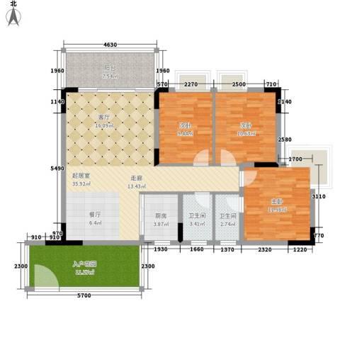 东馨美居3室0厅2卫1厨110.00㎡户型图