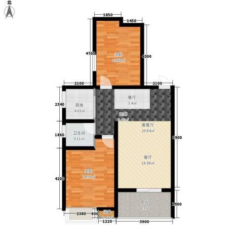海棠花园2室1厅1卫1厨96.00㎡户型图
