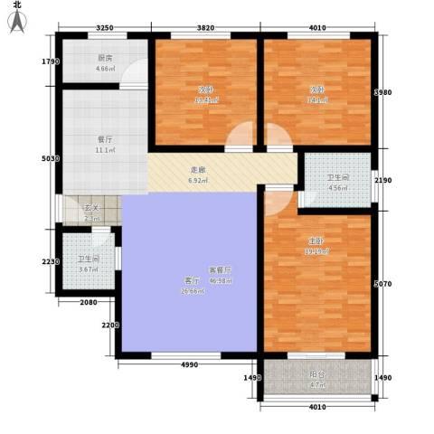 法苑小区3室1厅2卫1厨126.00㎡户型图