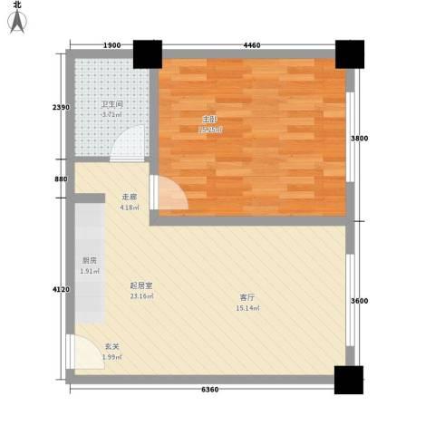 上城左岸1室0厅1卫0厨58.00㎡户型图