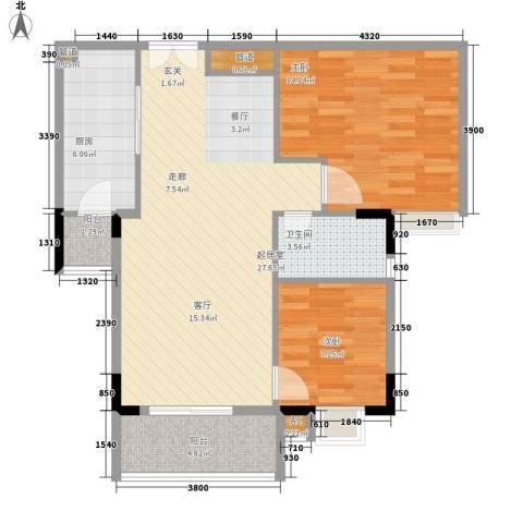 喜盈雅境2室0厅1卫1厨80.00㎡户型图