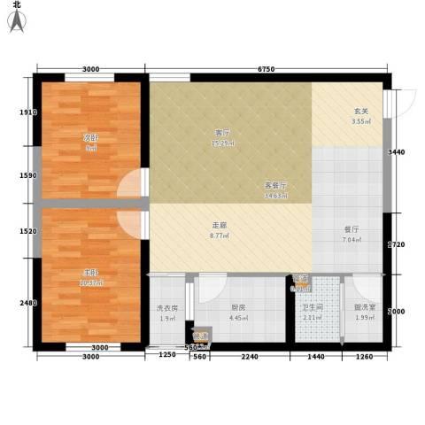 东岸阳光2室1厅1卫1厨92.00㎡户型图