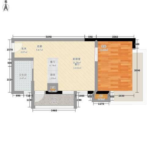 珠江新岸公寓1室0厅1卫0厨50.00㎡户型图
