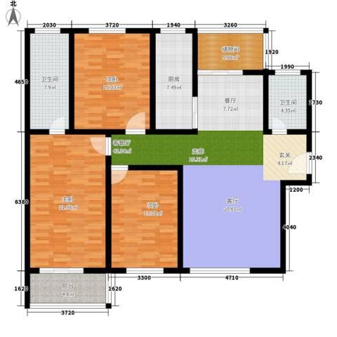 法苑小区3室1厅2卫1厨140.00㎡户型图