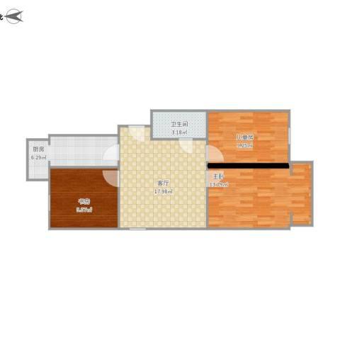 和义西里3室1厅1卫1厨80.00㎡户型图