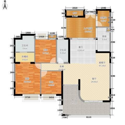 富力天河华庭3室1厅2卫1厨155.00㎡户型图
