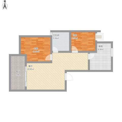 绿地东上海2室1厅1卫1厨96.00㎡户型图