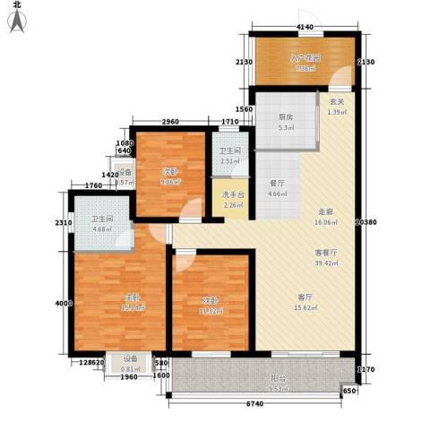江尚天地3室1厅2卫1厨152.00㎡户型图