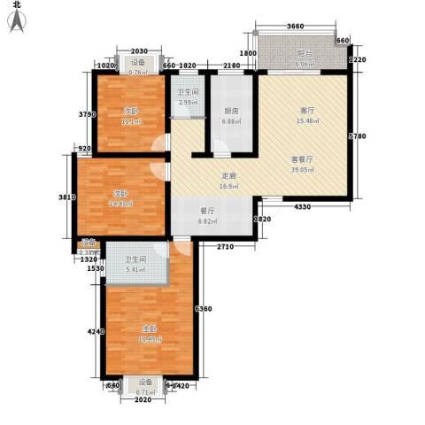江尚天地3室1厅2卫1厨153.00㎡户型图