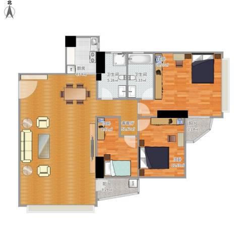 碧水明筑3室1厅2卫1厨156.00㎡户型图