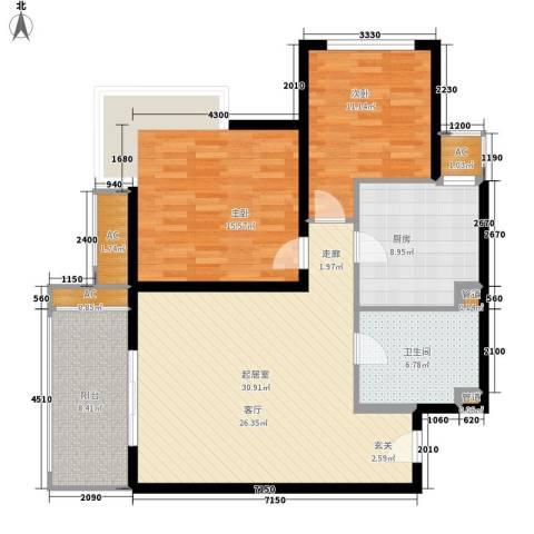 宏城国际公寓2室0厅1卫1厨94.00㎡户型图