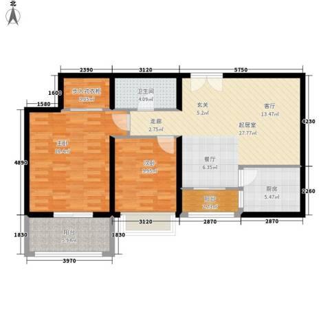 唐延鑫苑2室0厅1卫1厨88.00㎡户型图