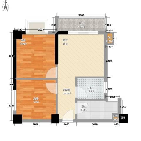 水岸新城2室0厅1卫1厨58.00㎡户型图