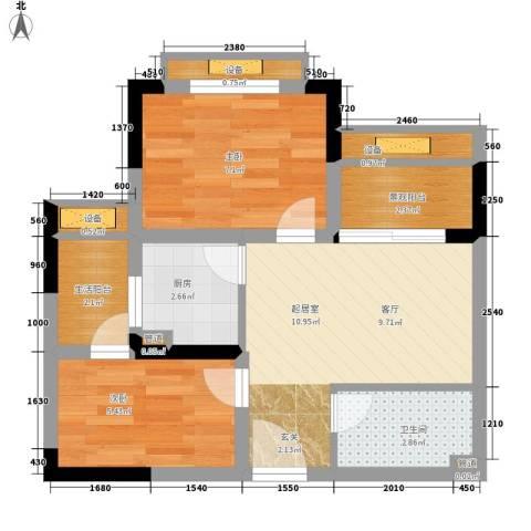 重庆国际家纺城绣色2室0厅1卫1厨43.00㎡户型图