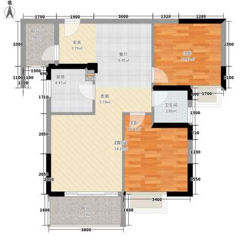 水岸新城2室0厅1卫1厨98.00㎡户型图