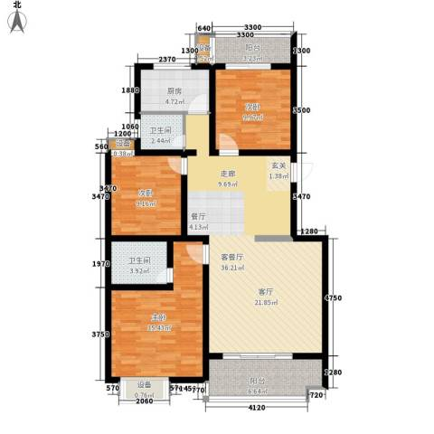 江尚天地3室1厅2卫1厨136.00㎡户型图