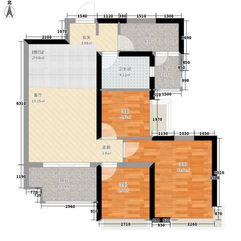 恒大名都3室0厅1卫0厨78.28㎡户型图