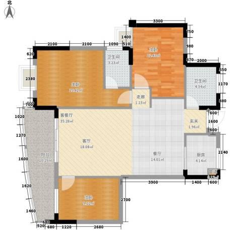 御景豪庭3室1厅2卫1厨121.00㎡户型图