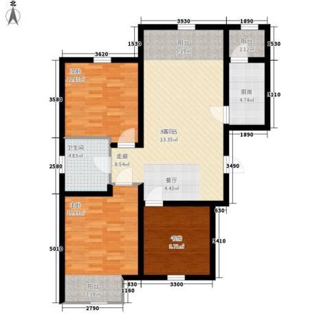 紫辰悦府3室0厅1卫1厨93.00㎡户型图