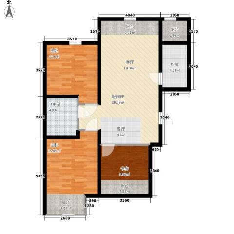 紫辰悦府3室1厅1卫1厨93.00㎡户型图