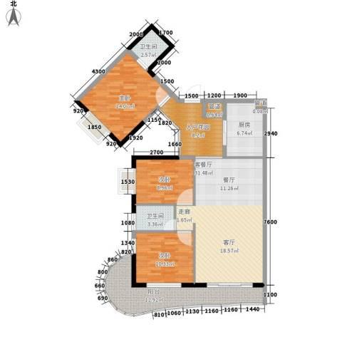 御景豪庭3室1厅2卫1厨122.00㎡户型图