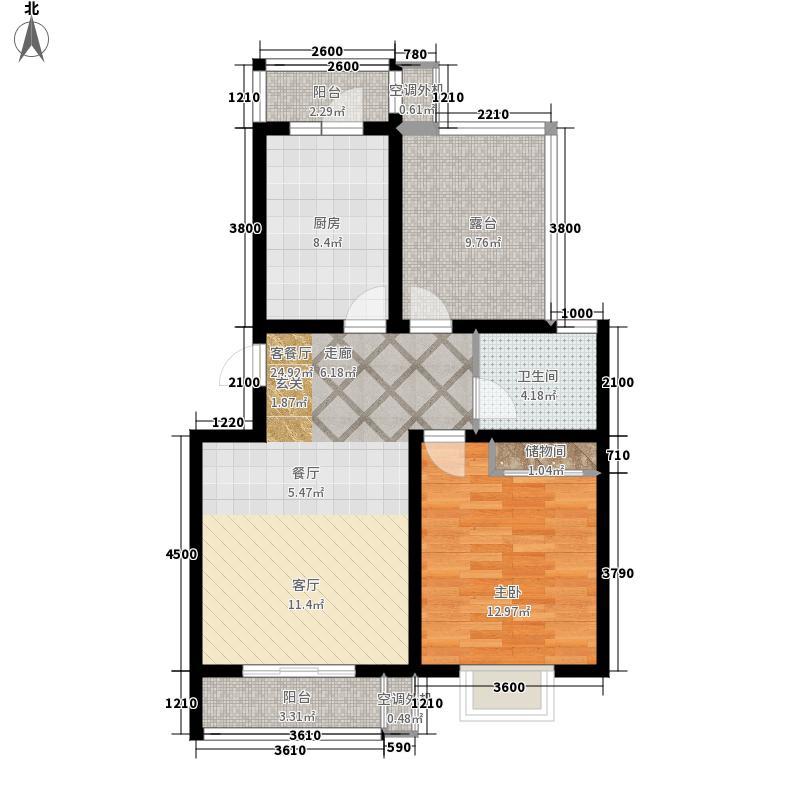 国际城64.00㎡国际城一室一厅一卫户型