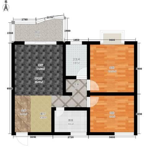 海德福苑2室1厅1卫1厨74.00㎡户型图