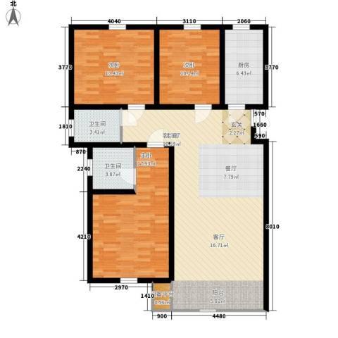 紫辰悦府3室1厅2卫1厨113.00㎡户型图