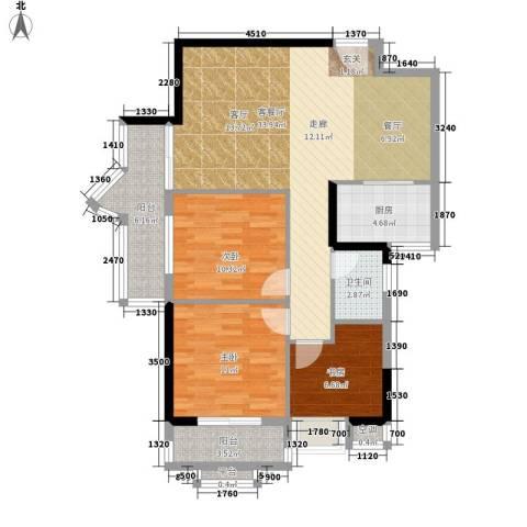 珠江怡景湾3室1厅1卫1厨91.00㎡户型图