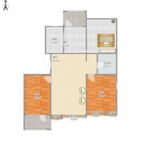 燕都第一城2室2厅1卫1厨142.00㎡户型图