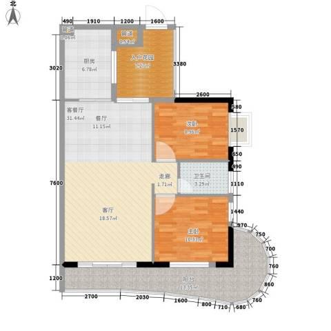 御景豪庭2室1厅1卫1厨96.00㎡户型图