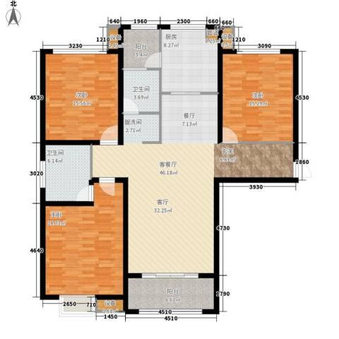 宏江中央广场3室1厅2卫1厨143.00㎡户型图