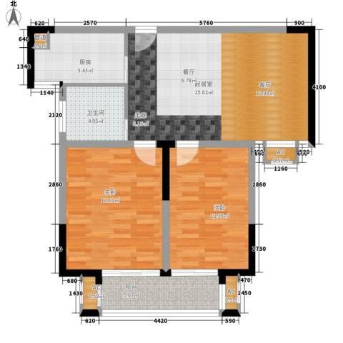 向东园2室0厅1卫1厨79.00㎡户型图