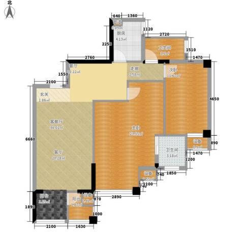 共和世家2室1厅2卫1厨88.00㎡户型图