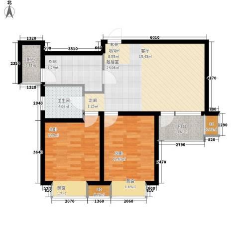 亿城左岸香颂2室0厅1卫1厨77.00㎡户型图