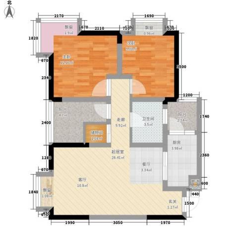 和泓南山道2室0厅1卫1厨65.00㎡户型图