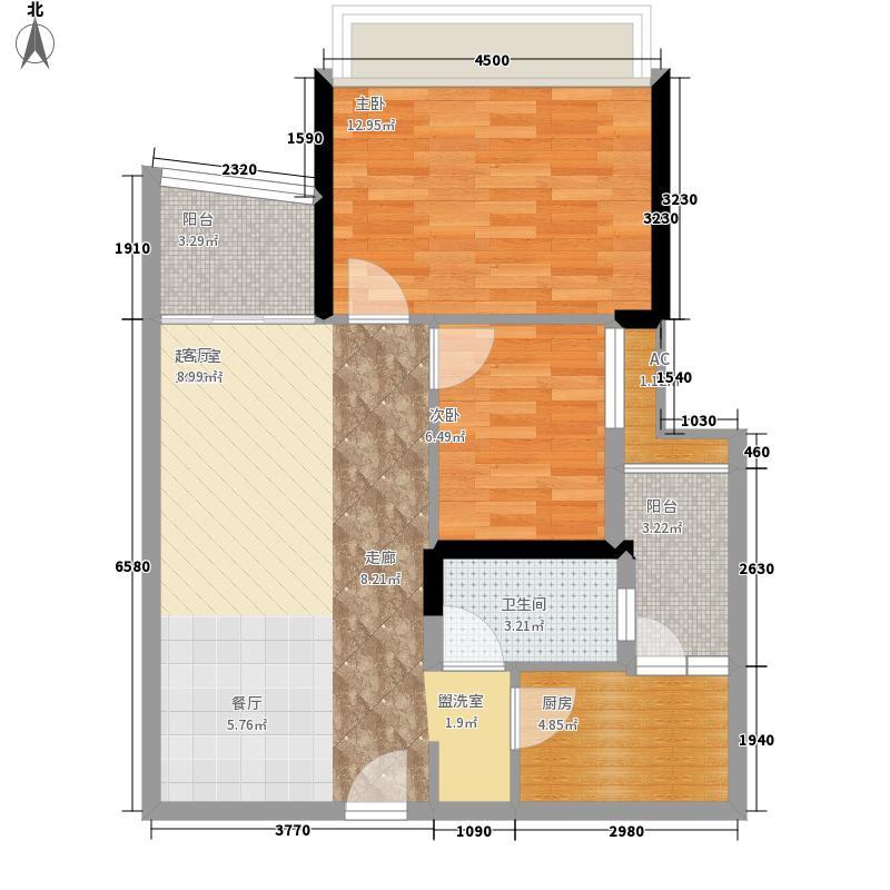 英豪花园68.54㎡A2栋4-28层032面积6854m户型