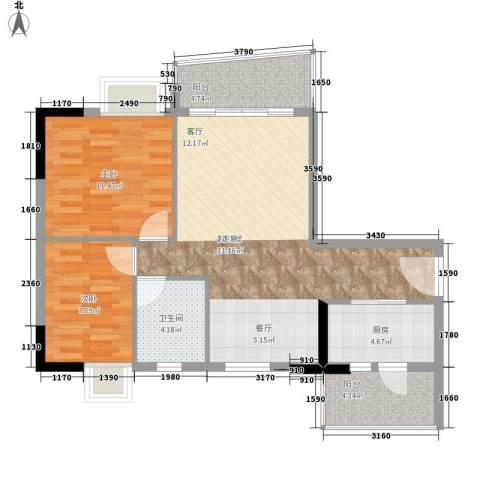 英豪花园2室0厅1卫1厨74.00㎡户型图