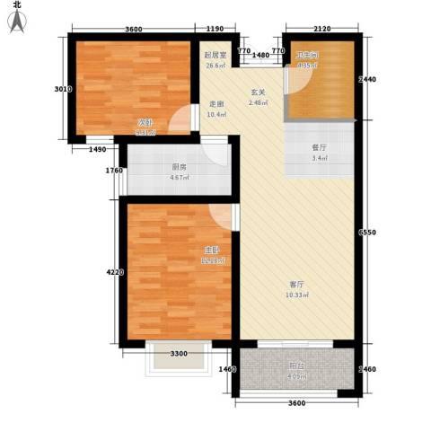 香榭家园2室0厅1卫1厨85.00㎡户型图