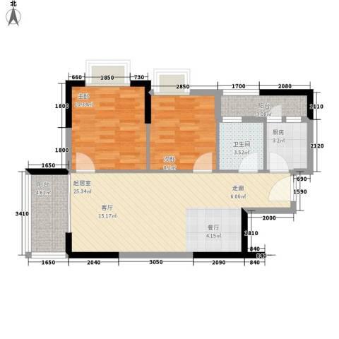 英豪花园2室0厅1卫1厨66.00㎡户型图