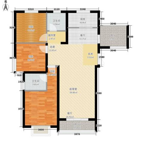 香榭家园3室0厅2卫1厨122.00㎡户型图