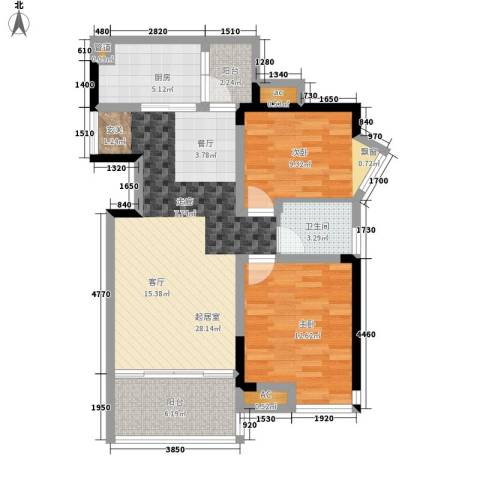 西江月2室0厅1卫1厨85.00㎡户型图